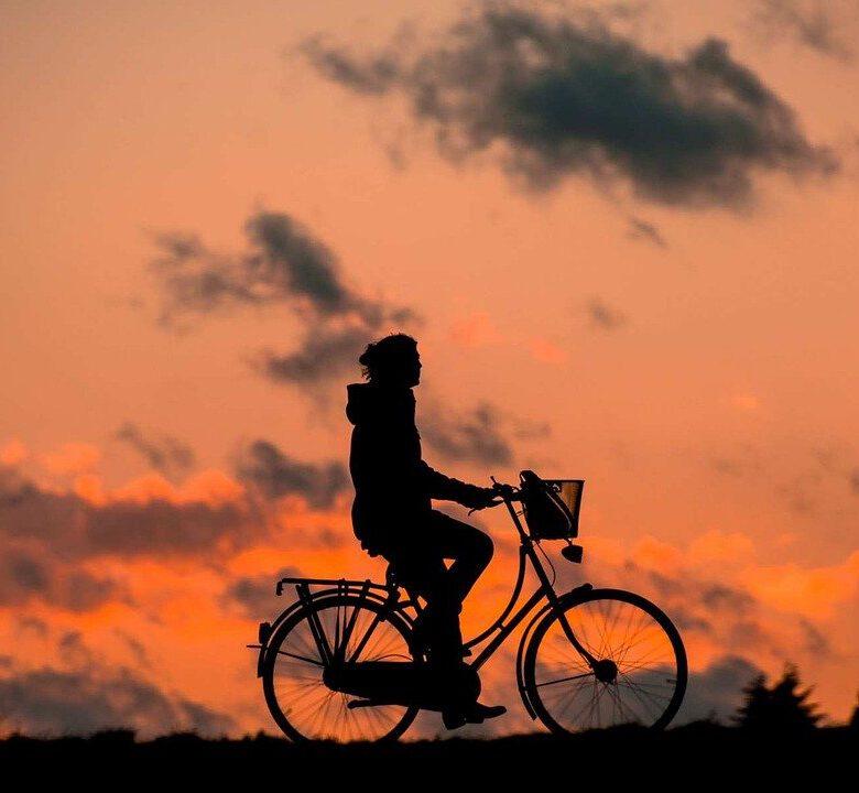 silhouette, bike, fitness